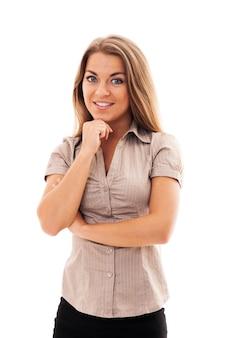 Selbstbewusste geschäftsfrau mit hand am kinn