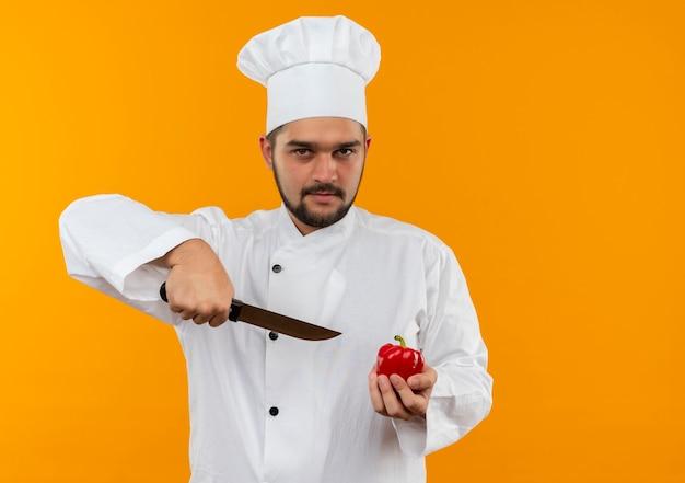 Selbstbewusster junger männlicher koch in kochuniform, der pfeffer und messer isoliert auf oranger wand mit kopierraum hält