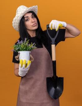 Selbstbewusstes junges kaukasisches gärtnermädchen, das uniform und hut mit gärtnerhandschuhen trägt, die spaten und blumentopf isoliert auf oranger wand halten