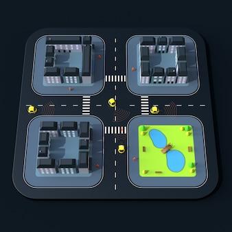 Selbstfahrende autos - 3d-illustration