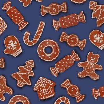 Selbstgemachte verschiedene weihnachtslebkuchenplätzchen auf einem blauen hintergrund