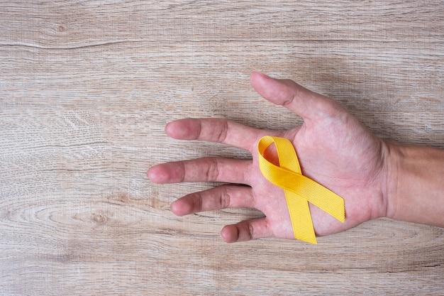 Selbstmordverhütung und kinderkrebsbewusstsein, gelbes band