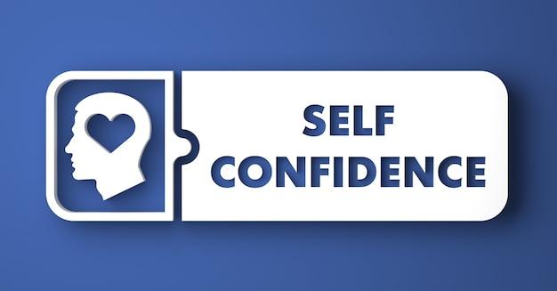 Selbstvertrauen-konzept. weißer knopf auf blauem hintergrund im flachen entwurfsstil.