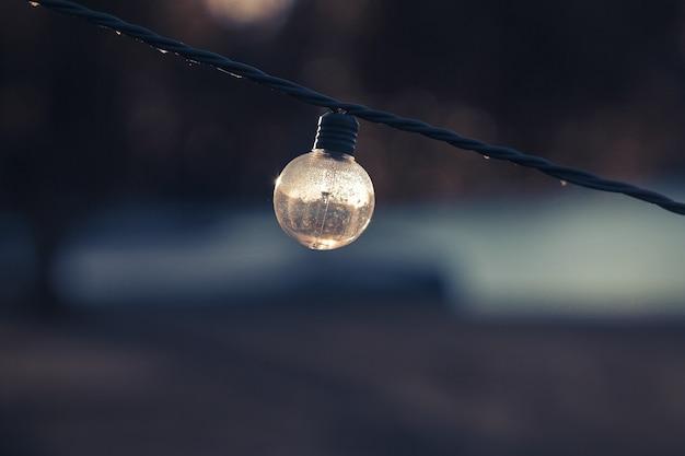 Selektive fokusaufnahme einer ausgeschalteten glühbirne an einer schnur