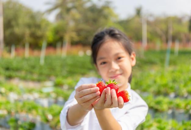 Selektiver fokus des glücklichen mädchenkindes, das frische rote organische erdbeeren im garten hält
