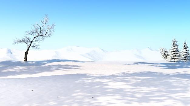 Selektiver fokus des winterschneefeldhintergrunds auf dem feld, 3d-rendering