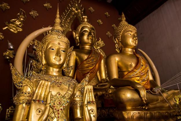 Selektiver fokus goldener engel und buddha-statue
