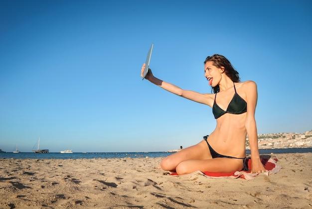 Selfie vom strand entfernt