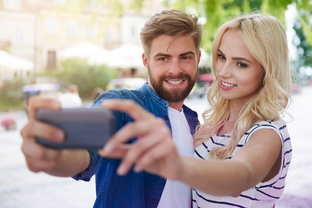 Selfie während der besichtigung der altstadt aufgenommen