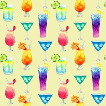 Semless muster mit verschiedenen bunten sommerhellen cocktails mit früchten. hand gezeichnete aquarellillustration. textur für druck, stoff, textil, tapete.