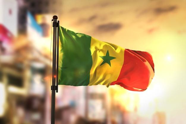 Senegal-flagge gegen stadt verschwommen hintergrund bei sonnenaufgang hintergrundbeleuchtung