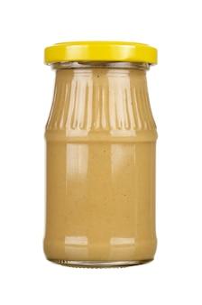 Senfglasflasche. auf weißem hintergrund isoliert