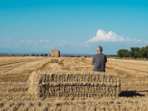 Senior bauer sitzt auf strohballen und beobachtet das feld landwirtschaftskonzept