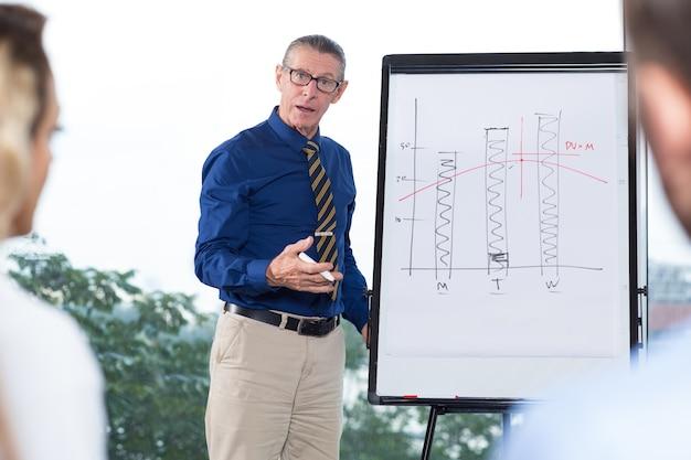 Senior business leader macht präsentation zum team