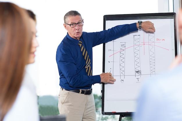Senior business leader presenting-diagramm zum team