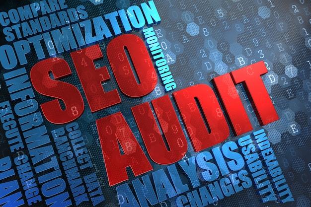 Seo audit - rotes hauptwort mit blauer wortwolke auf digitalem hintergrund.