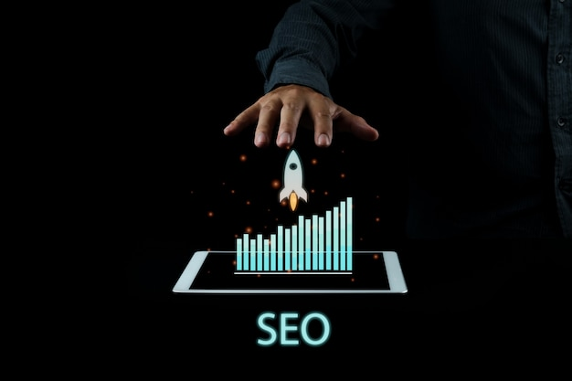 Seo-fotokonzeptidee für digitales marketing mit speziellem infografik-inhalt