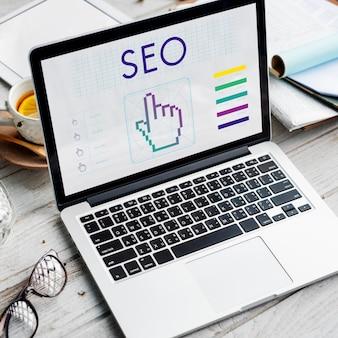 Seo links webinar hand cyberspace konzept