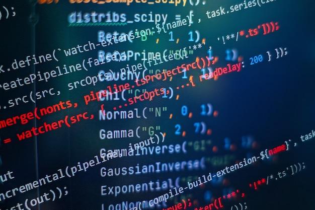 Seo-optimierung. moderne technik. php-syntax hervorgehoben. programmierfunktionen auf laptop schreiben. big data und internet der dinge sind im trend.
