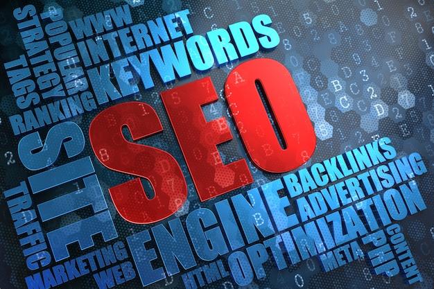 Seo - rotes hauptwort mit blauer wortwolke auf digitalem hintergrund.