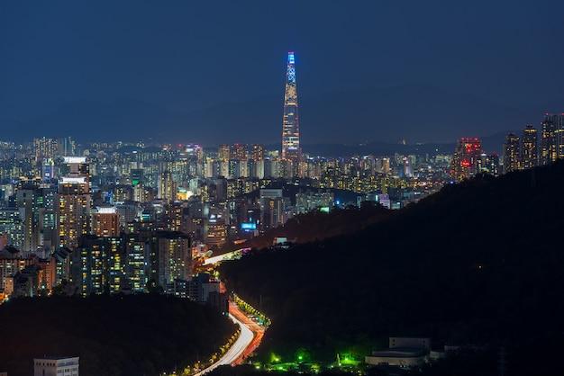 Seoul-stadt-skyline nachts, südkorea.