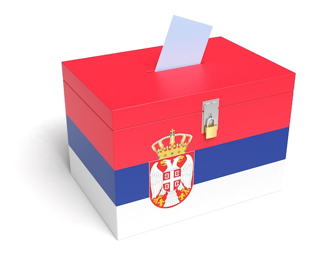 Serbien wahlurne mit serbischer flagge. isoliert auf weißem hintergrund.