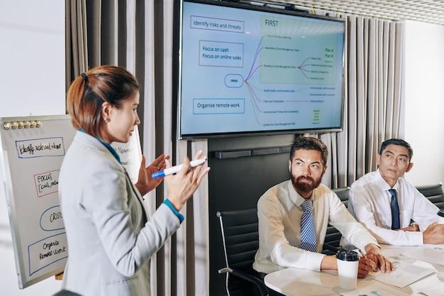 Seriöse geschäftsleute, die an einem meeting teilnehmen und kollegen zuhören, die über möglichkeiten der unternehmensentwicklung während der wirtschaftskrise sprechen