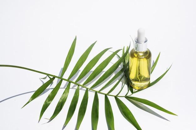 Serum oder pflegeölflasche palmblatt auf weißem hintergrund gesichts- und körperpflegekonzept aromatherapie ätherisches öl