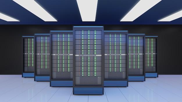 Server-racks im internet-sicherheitsserver des computernetzwerks auf dunklem hintergrund. blaues themenfarbbild. 3d-rendering-bild