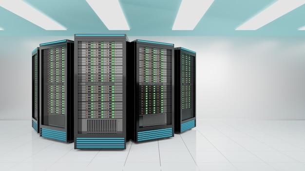 Server-racks im internet-sicherheitsserver des computernetzwerks auf weißem hintergrund. hellblaues themenfarbbild. 3d-rendering-bild