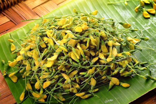 Sesbania-blume auf bananenblatt