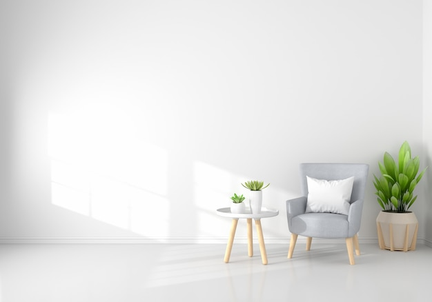 Sessel im weißen wohnzimmer mit kopienraum