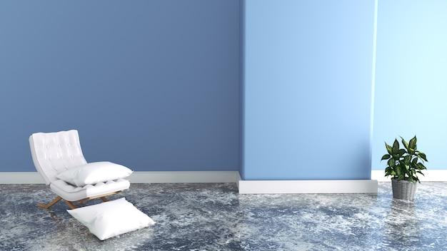 Sessel im wohnzimmer, blaue wände. 3d-rendering