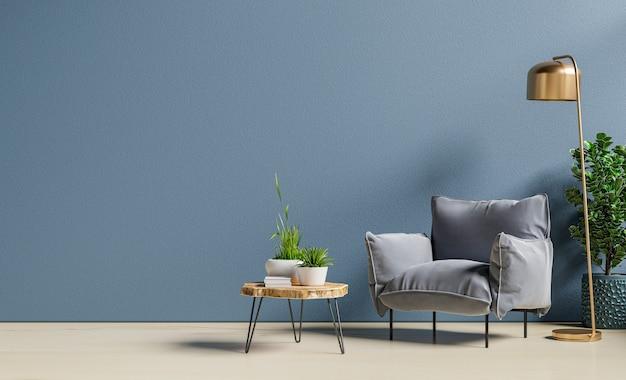 Sessel und holztisch im wohnzimmer mit pflanze, dunkelblaue wand. 3d-rendering
