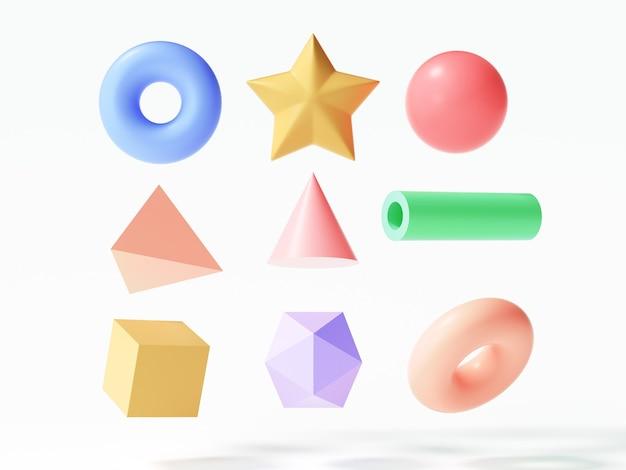 Set aus bunten 3d-objektelementen, torus, stern, kugel, dreieck, rohr, würfel auf isoliertem weißem hintergrund. 3d-render-darstellung