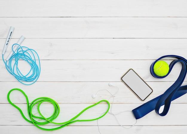 Set aus hellen latexgummibändern für fitness und smartphone
