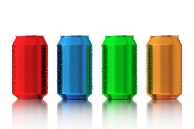 Set aus mehrfarbigen leeren aluminiumdosen mit wassertropfen auf weißem hintergrund. 3d-rendering