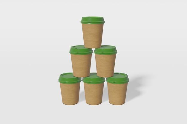 Set aus sechs braunen pappbechern mit grünem deckel in form einer pyramide