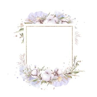 Set baumwollblumen in einem goldrahmen. aquarellillustration