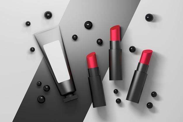 Set bestehend aus drei roten samtlippenstiften mit einem röhrchen für kosmetikverpackungen