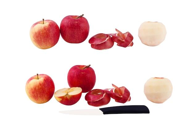 Set fotos äpfel, geschälte apfelschale des apfels, geschnittener apfel, messer auf weißem hintergrund