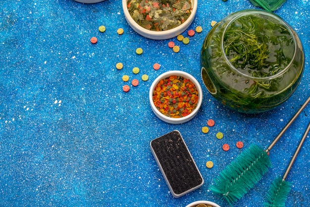 Set für die pflege von aquarienfischen. sortiertes futter, grüner seetang, schmetterlingsnetz, schaber, bürsten. marineblauer meerhintergrund