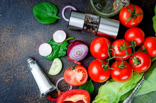 Set gemüse für salat