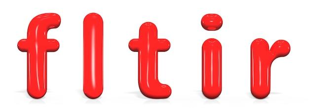 Set glänzende farbe buchstaben f, l, t, i, r kleinbuchstaben der blase