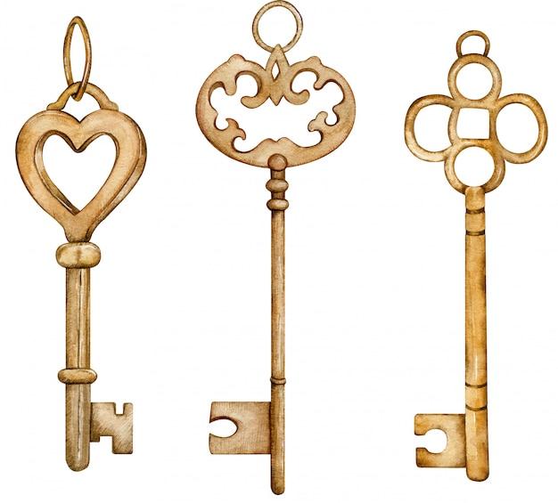 Set sammlung antiker goldener schlüssel. aquarellillustration der braunen metallschlüssel des jahrgangs.