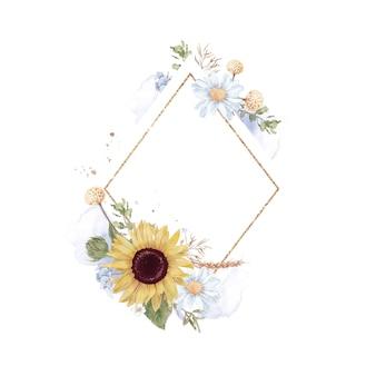Set sonnenblumen in einem goldrahmen. aquarellillustration.