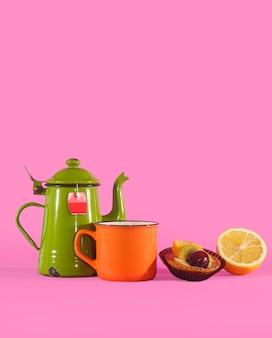 Set vintage teetasse, orangentasse, zitrone und gebäck