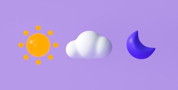 Set von 3d-wettersymbolen für vorhersagedesign-anwendung und web. 3d-darstellung.