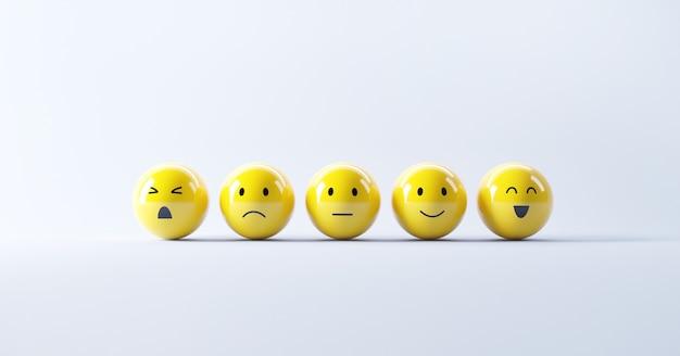 Set von emoji-emoticons mit trauriger und fröhlicher stimmung