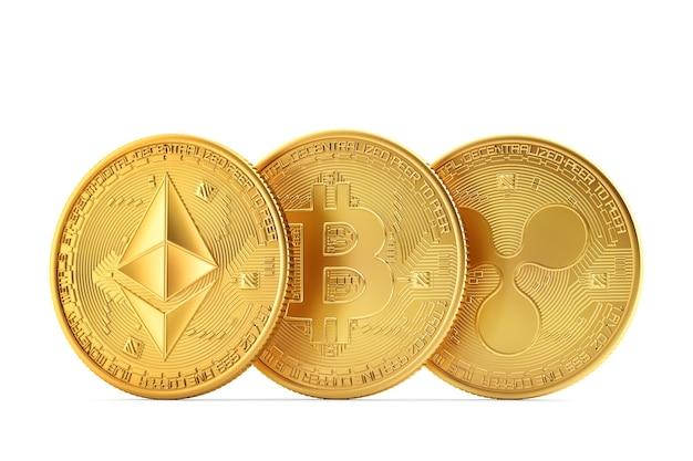 Set von kryptowährungen ethereum bitcoin ripple 3d-darstellung